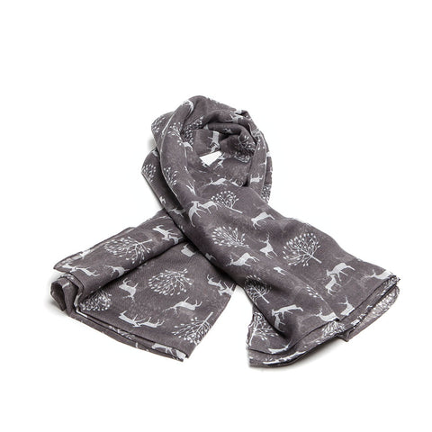 Grey Scarf with Delicate Deer and Tree Design