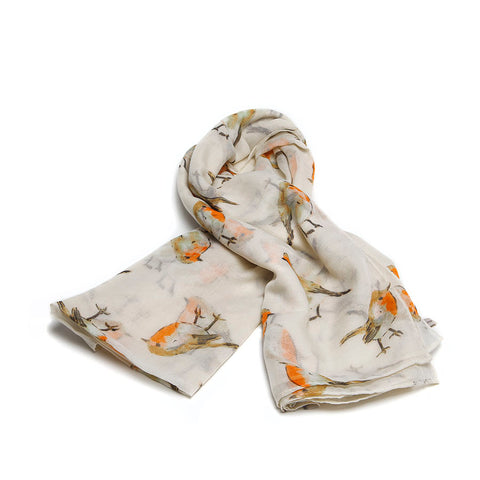 Cream Scarf with Watercolour Robins Design