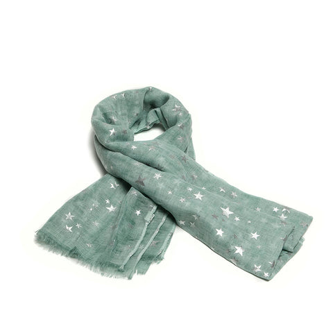 Pale Green Scarf with Silver Stars