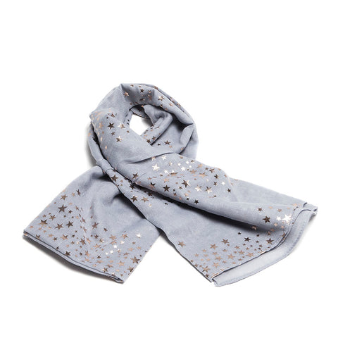 Silver Scarf with Rose Gold Galaxy Design