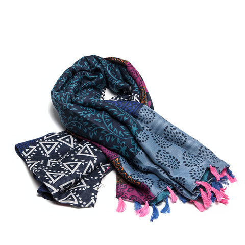 Shades of Blue and Pink Abstract Patch Scarf with Tassels