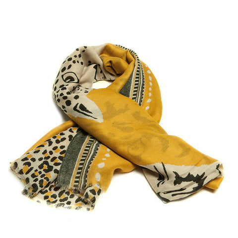 Mustard Scarf with Abstract Tiger and Leopard Design