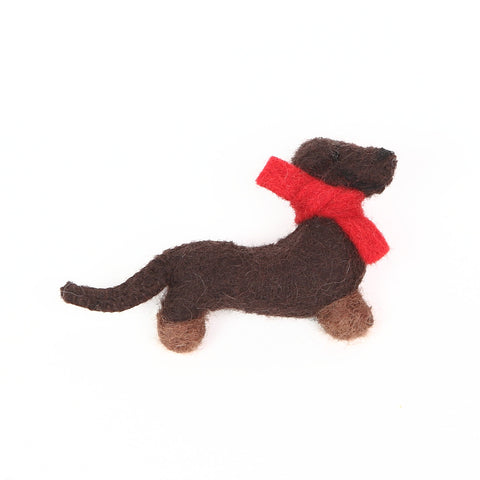 Felt Brown Dachshund Brooch by Amica