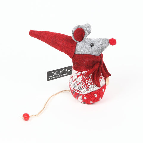 Shoeless Joe Red Christmas Mouse Decoration