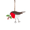 Heaven Sends Metal Robin Decoration with Holly