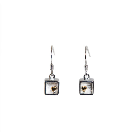 Christin Ranger Sterling Silver Heart of Gold Drop Earrings