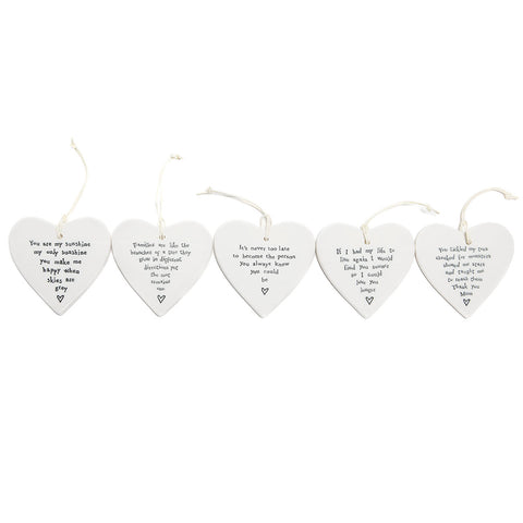 East of India Round Ceramic Hearts with Sentiments (3)