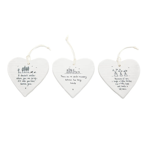 East of India Round Ceramic Hearts with Sentiments