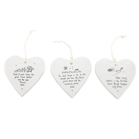 East of India Round Ceramic Hearts with Sentiments (6)