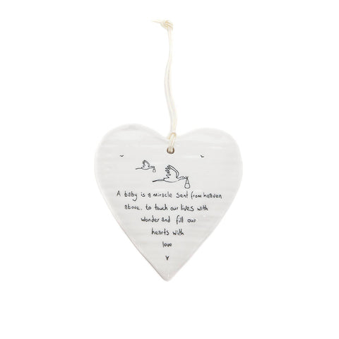 East of India Round Ceramic Heart - A Baby is a Miracle...