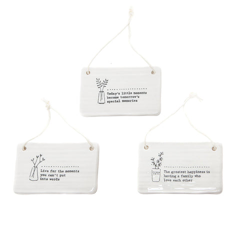 East of India Glazed Ceramic Plaques with Sentiments