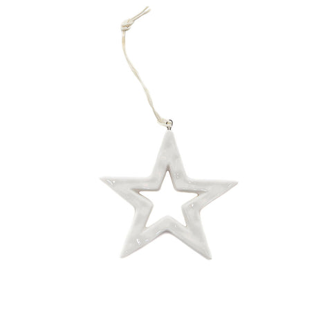 East of India Cut-Out White Ceramic Star Decoration