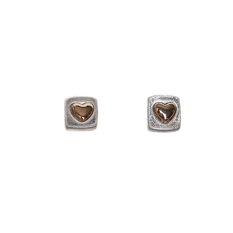 Pom Silver Finish Square Studs with Gold Hearts Earrings