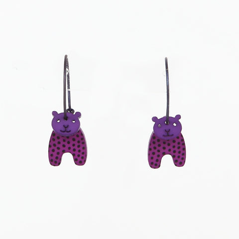 Lene Lundberg K-Form Purple Bear Earrings