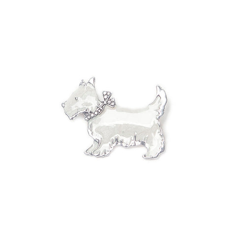 White Enamel Scottie Brooch from Eastar