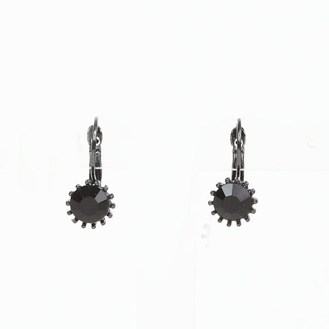 Lovett Black Crystal on Gun Metal French Wire Earrrings