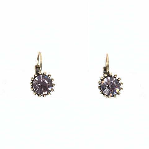 Lovett Light Purple Crystal on Antique Brass French Wire Earrrings