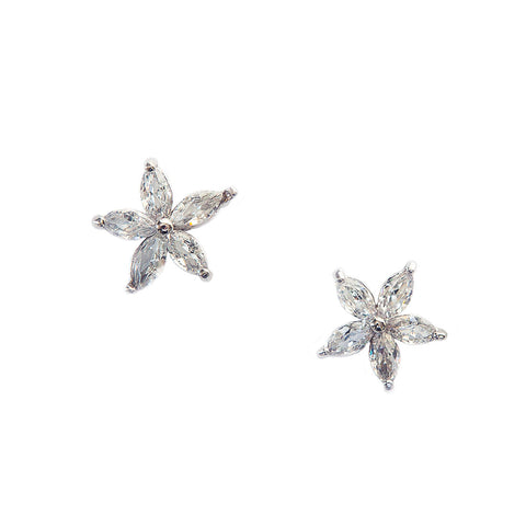 Tiny Crystal Flower Stud Earrings by Eastar