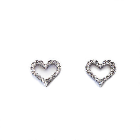 Sparkly Crystal Set Hollow Heart Earrings