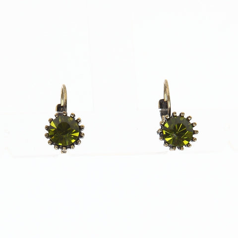 Lovett Olivine Swarovski Crystal on Brass Finish French Wire Earrrings