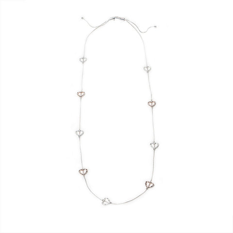Eastar Adjustable Silver/Rose Gold Hearts Necklace