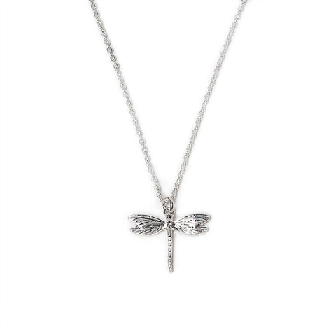 Eastar Silver Finish Dragonfly Pendant