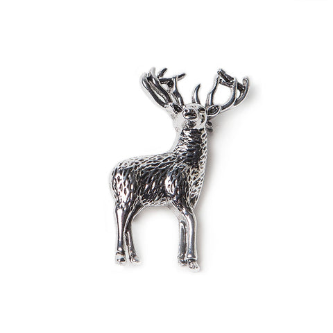Antique Silver Finish Stag Brooch