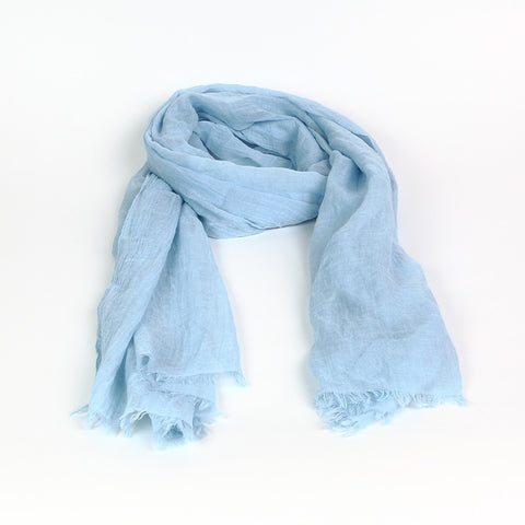 Pale Blue Self-Coloured Scarf