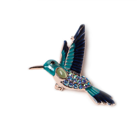 Enamelled Humming Bird Brooch