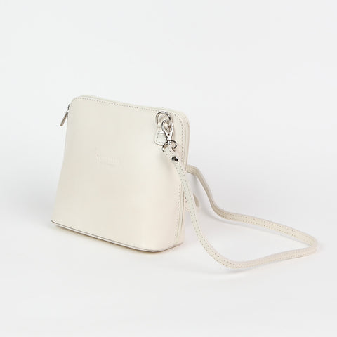 Genuine Leather Small Shoulder Bag in Cream