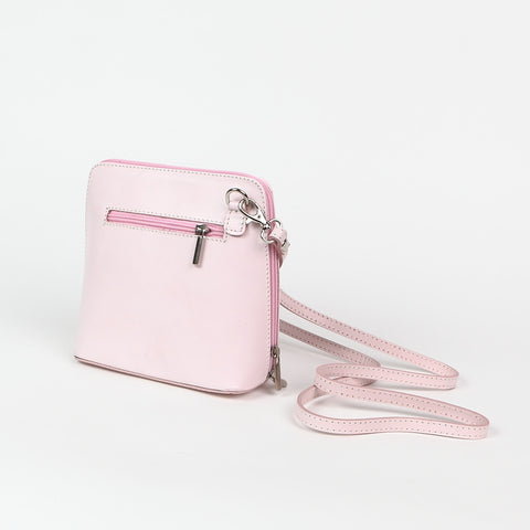 Genuine Leather Small Shoulder Bag in Pale Pink