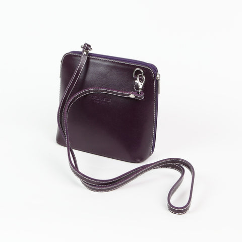 Genuine Leather Small Shoulder Bag in Dark Purple