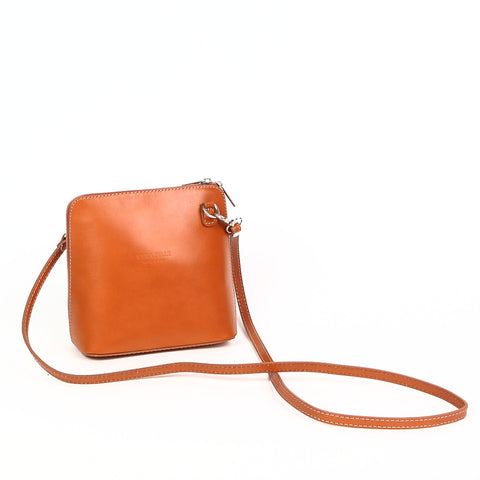 Genuine Leather Small Shoulder Bag in Orange