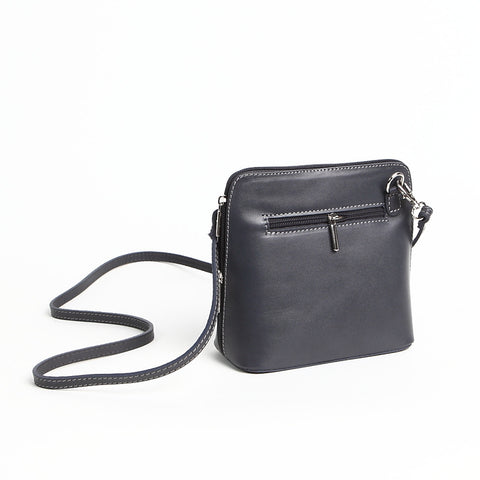 Genuine Leather Small Shoulder Bag in Grey