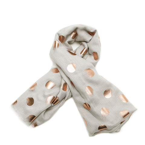 Grey Smudged Rose Gold Spots Scarf