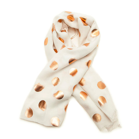 Cream Smudged Rose Gold Spots Scarf