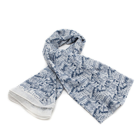 Navy & White Scarf with Houses Design