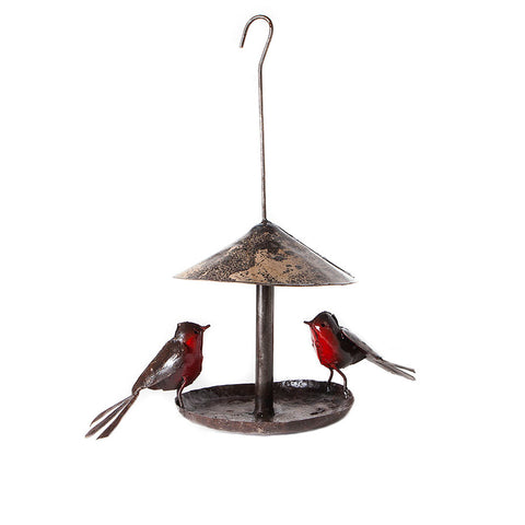 Hanging Metal Robin Bird Feeder