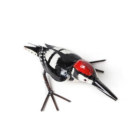 Metal Standing Lesser Spotted Woodpecker garden ornament