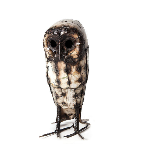 Large Metal White Owl garden sculpture