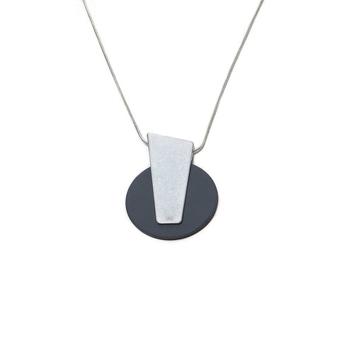 Gracee Matt Silver and Grey Large Disc Pendant