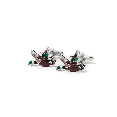 Handsome Flying Ducks Enamelled Cufflinks