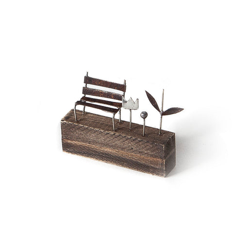 Mini Bench and Flower Metal Sculpture by Sarah Jane Brown