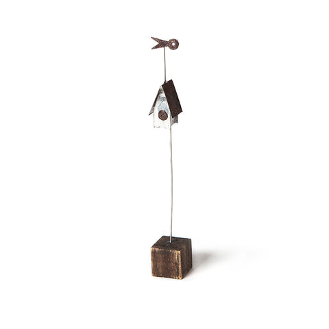 Mini Bird House Metal Sculpture by Sarah Jane Brown