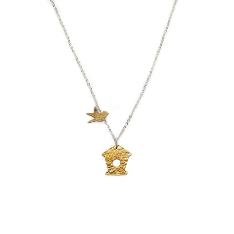 Just Trade Brass Bird and Bird House Necklace