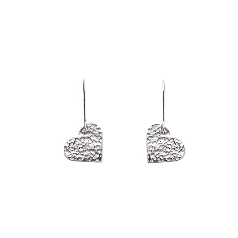 Just Trade Hammered Silver Finish Heart Earrings