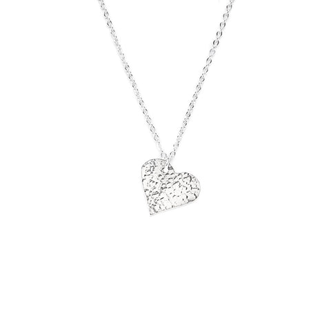 Just Trade Hammered Silver Finish Heart Pendant Necklace