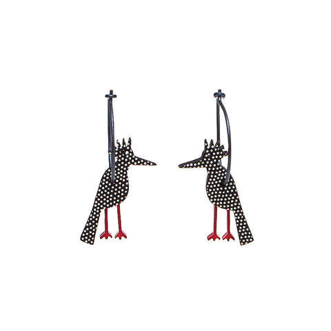 Lene Lundberg K-Form Black and White Spotty Bird Earrings