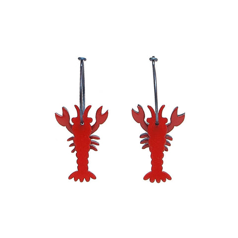 Lene Lundberg K-Form Red Shiny Lobster Earrings
