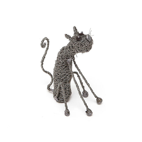Knitted Wire Sitting Cat Sculpture by Sarah Jane Brown